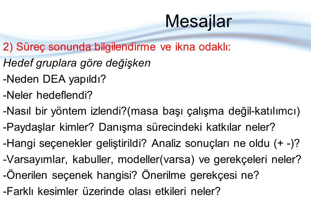 Mesajlar 2) Süreç sonunda bilgilendirme ve ikna odaklı: Hedef gruplara göre değişken -Neden DEA yapıldı.