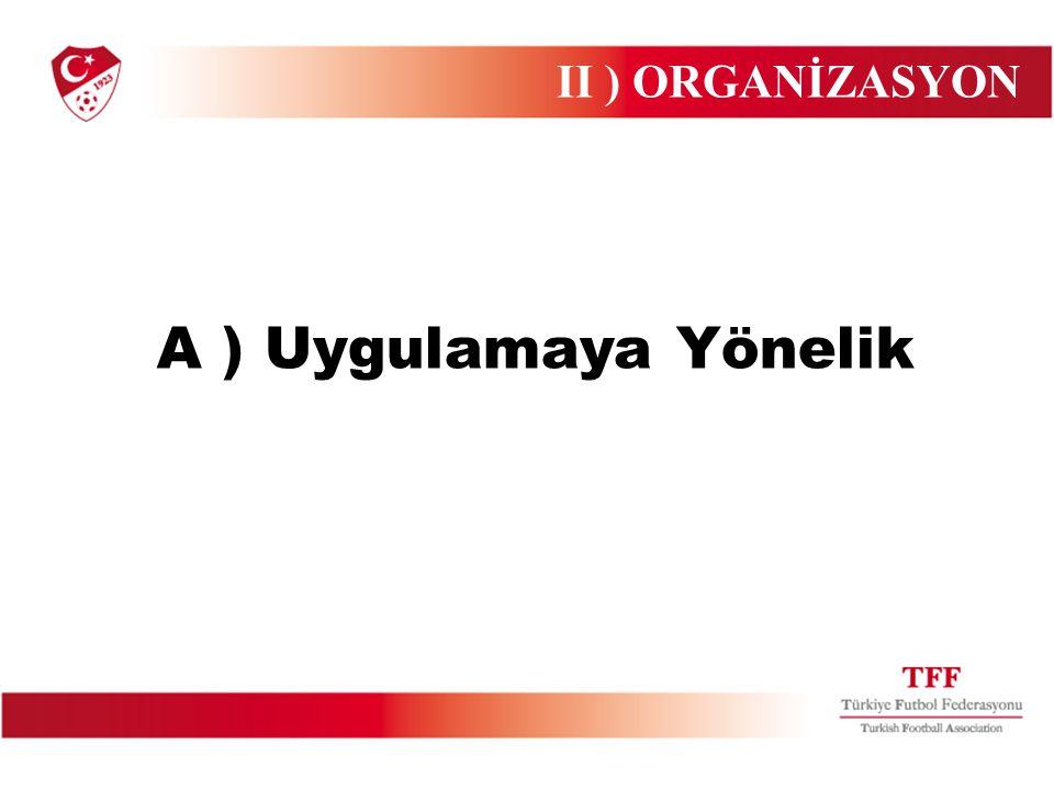 A ) Uygulamaya Yönelik II ) ORGANİZASYON