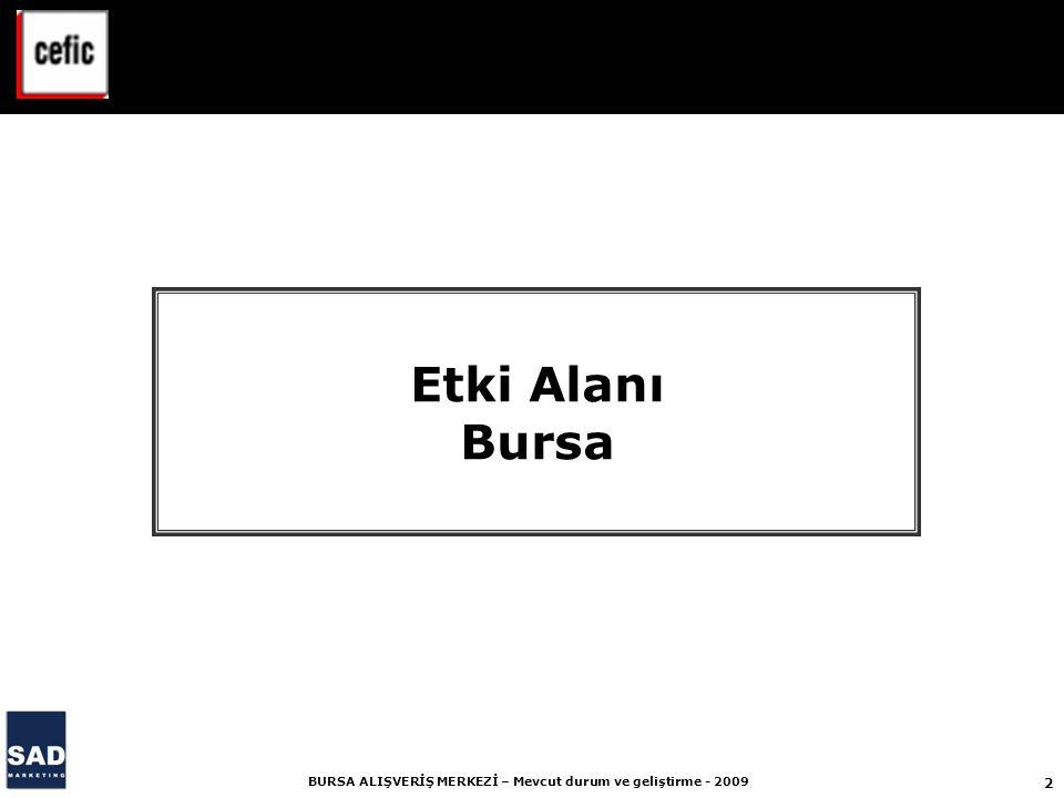 2 BURSA ALIŞVERİŞ MERKEZİ – Mevcut durum ve geliştirme - 2009 Etki Alanı Bursa