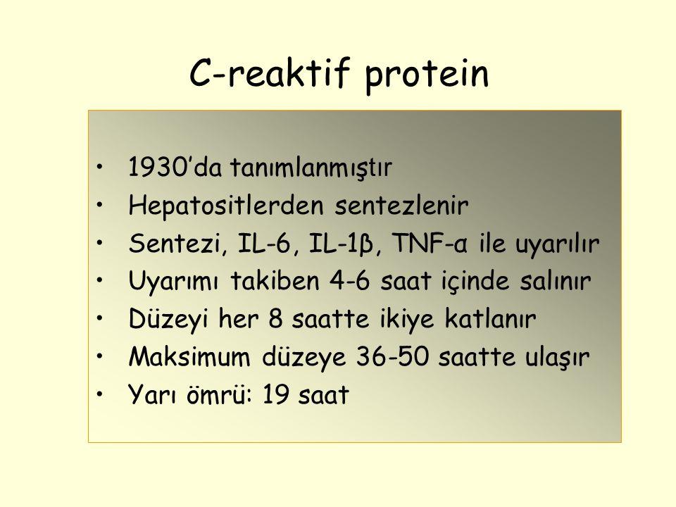 C-reaktif protein 1930'da tanımlanmış tır Hepatositlerden sentezlenir Sentezi, IL-6, IL-1β, TNF-α ile uyarılır Uyarımı takiben 4-6 saat içinde salınır Düzeyi her 8 saatte ikiye katlanır Maksimum düzeye 36-50 saatte ulaşır Yarı ömrü: 19 saat