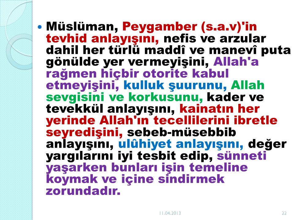 Müslüman, Peygamber (s.a.v)'in tevhid anlayışını, nefis ve arzular dahil her türlü maddî ve manevî puta gönülde yer vermeyişini, Allah'a rağmen hiçbir