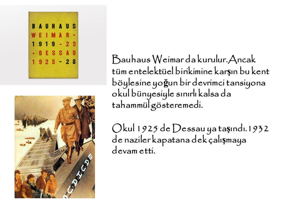 Bauhaus Weimar da kurulur.Ancak tüm entelektüel birikimine kar ş ın bu kent böylesine yo ğ un bir devrimci tansiyona okul bünyesiyle sınırlı kalsa da