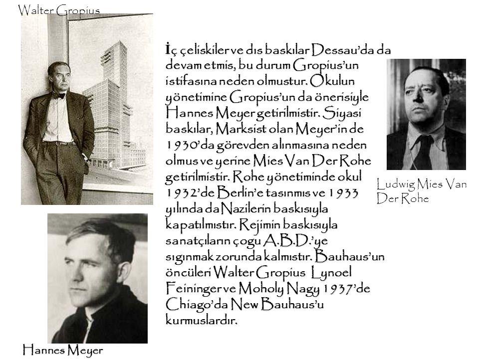 İ ç çeliskiler ve dıs baskılar Dessau'da da devam etmis, bu durum Gropius'un istifasına neden olmustur. Okulun yönetimine Gropius'un da önerisiyle Han