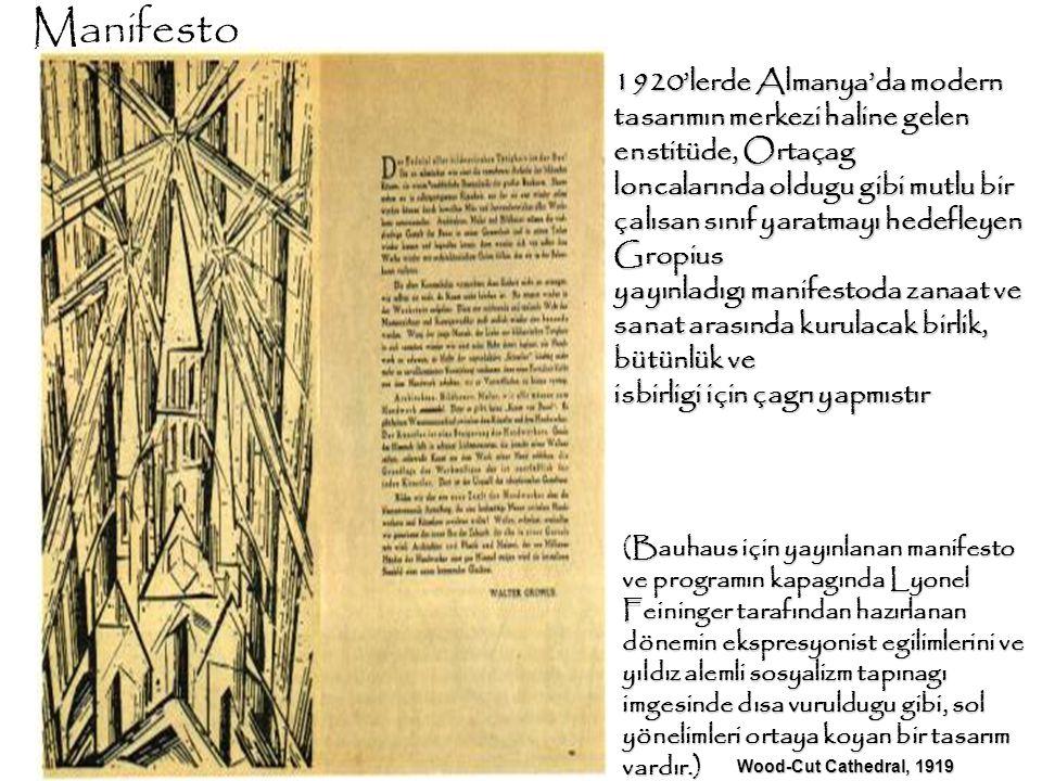 Manifesto 1920'lerde Almanya'da modern tasarımın merkezi haline gelen enstitüde, Ortaçag loncalarında oldugu gibi mutlu bir çalısan sınıf yaratmayı he