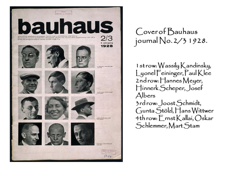 Cover of Bauhaus journal No. 2/3 1928. 1st row: Wassily Kandinsky, Lyonel Feininger, Paul Klee 2nd row: Hannes Meyer, Hinnerk Scheper, Josef Albers 3r
