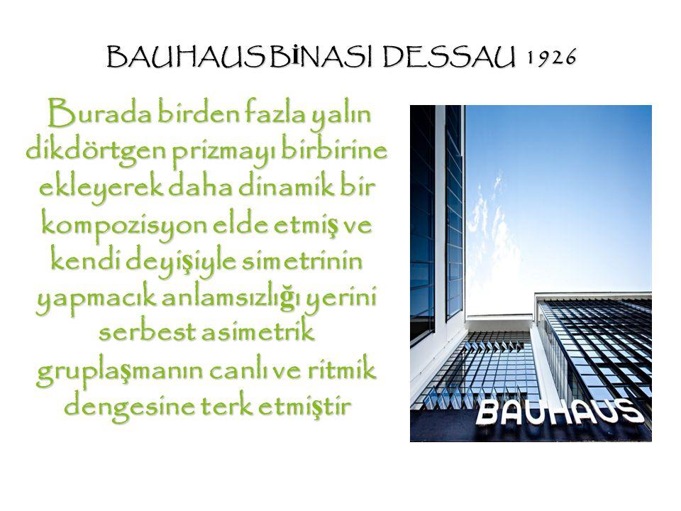 BAUHAUS B İ NASI DESSAU 1926 Burada birden fazla yalın dikdörtgen prizmayı birbirine ekleyerek daha dinamik bir kompozisyon elde etmi ş ve kendi deyi