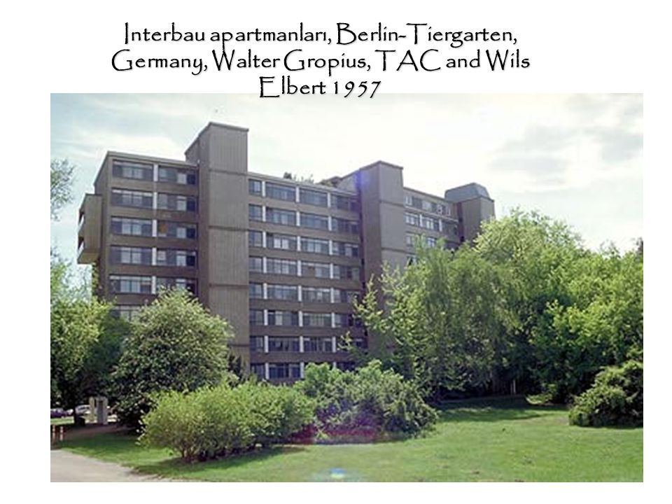 Interbau apartmanları, Berlin-Tiergarten, Germany, Walter Gropius, TAC and Wils Elbert 1957