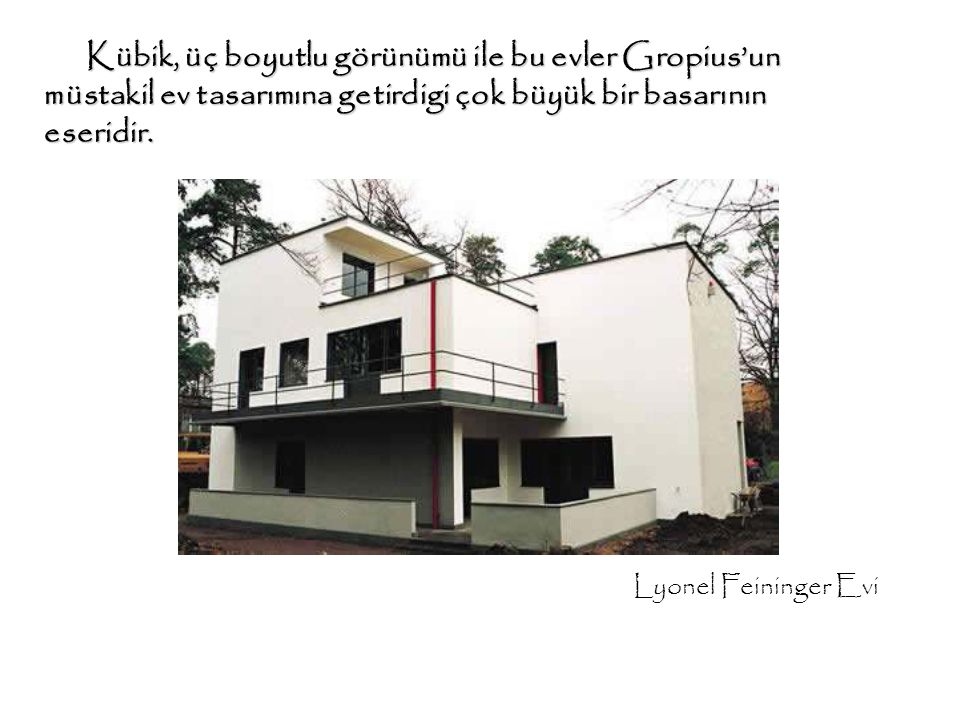Kübik, üç boyutlu görünümü ile bu evler Gropius'un müstakil ev tasarımına getirdigi çok büyük bir basarının eseridir. Kübik, üç boyutlu görünümü ile b
