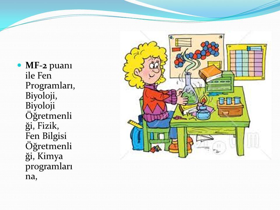 MF-2 puanı ile Fen Programları, Biyoloji, Biyoloji Öğretmenli ği, Fizik, Fen Bilgisi Öğretmenli ği, Kimya programları na,
