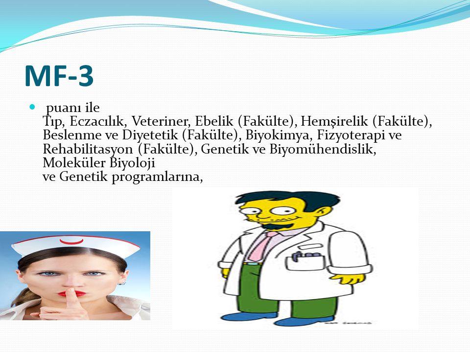 MF-3 puanı ile Tıp, Eczacılık, Veteriner, Ebelik (Fakülte), Hemşirelik (Fakülte), Beslenme ve Diyetetik (Fakülte), Biyokimya, Fizyoterapi ve Rehabilitasyon (Fakülte), Genetik ve Biyomühendislik, Moleküler Biyoloji ve Genetik programlarına,