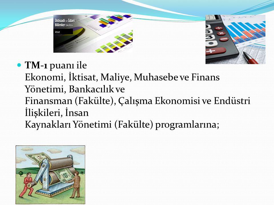 TM-1 puanı ile Ekonomi, İktisat, Maliye, Muhasebe ve Finans Yönetimi, Bankacılık ve Finansman (Fakülte), Çalışma Ekonomisi ve Endüstri İlişkileri, İnsan Kaynakları Yönetimi (Fakülte) programlarına;
