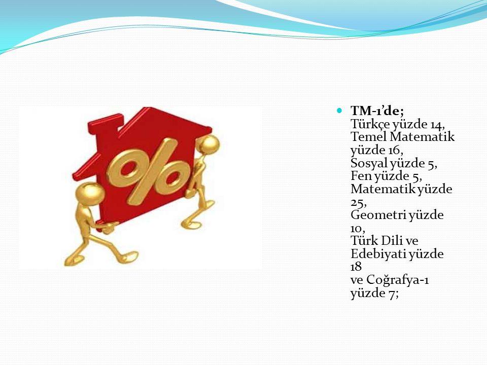 TM-1'de; Türkçe yüzde 14, Temel Matematik yüzde 16, Sosyal yüzde 5, Fen yüzde 5, Matematik yüzde 25, Geometri yüzde 10, Türk Dili ve Edebiyati yüzde 18 ve Coğrafya-1 yüzde 7;
