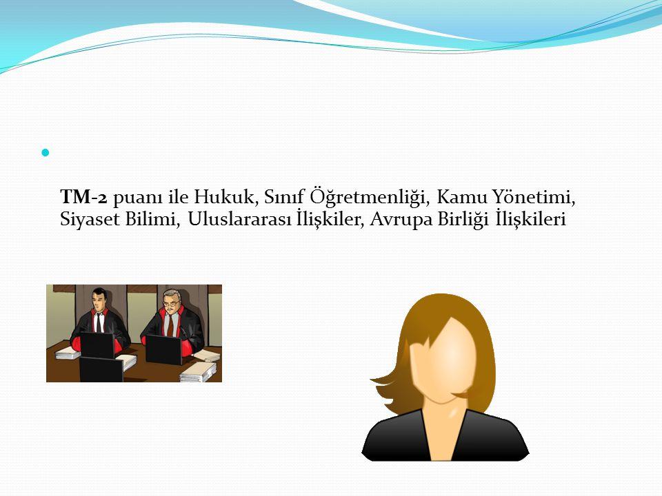 TM-2 puanı ile Hukuk, Sınıf Öğretmenliği, Kamu Yönetimi, Siyaset Bilimi, Uluslararası İlişkiler, Avrupa Birliği İlişkileri