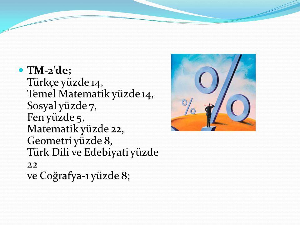TM-2'de; Türkçe yüzde 14, Temel Matematik yüzde 14, Sosyal yüzde 7, Fen yüzde 5, Matematik yüzde 22, Geometri yüzde 8, Türk Dili ve Edebiyati yüzde 22 ve Coğrafya-1 yüzde 8;