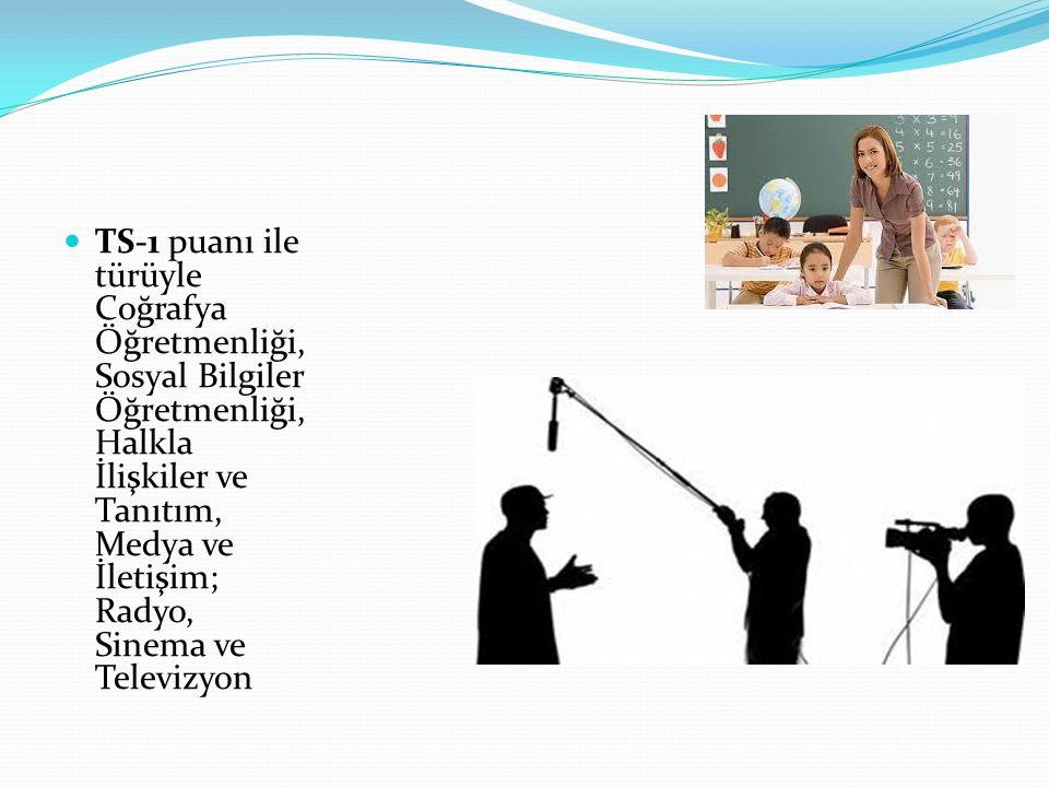 TS-1 puanı ile türüyle Coğrafya Öğretmenliği, Sosyal Bilgiler Öğretmenliği, Halkla İlişkiler ve Tanıtım, Medya ve İletişim; Radyo, Sinema ve Televizyon