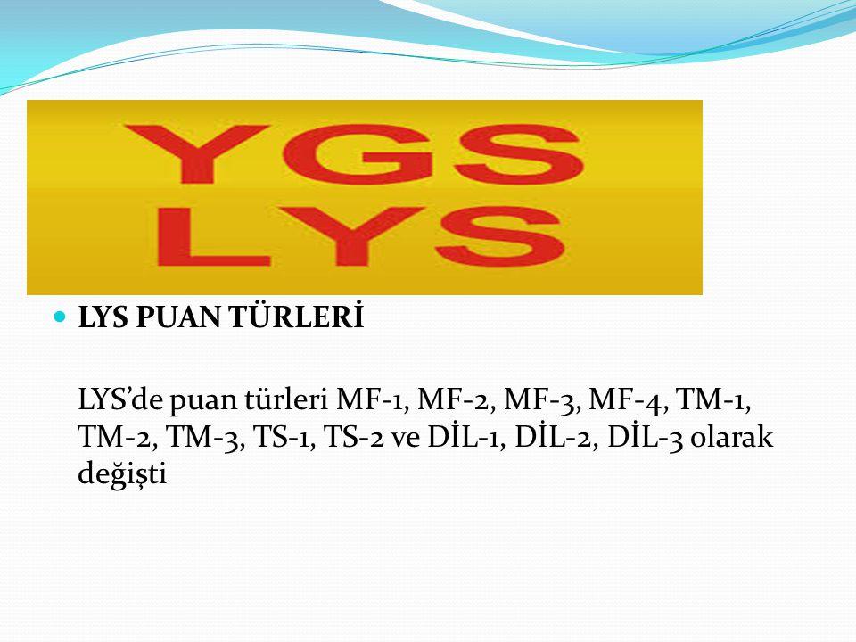 LYS PUAN TÜRLERİ LYS'de puan türleri MF-1, MF-2, MF-3, MF-4, TM-1, TM-2, TM-3, TS-1, TS-2 ve DİL-1, DİL-2, DİL-3 olarak değişti