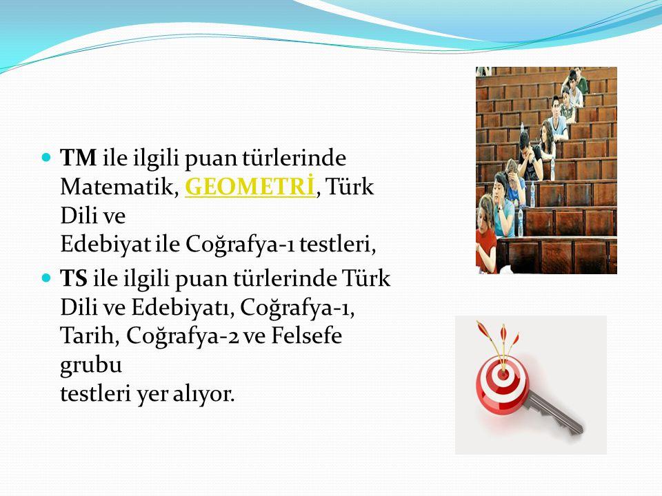 TM ile ilgili puan türlerinde Matematik, GEOMETRİ, Türk Dili ve Edebiyat ile Coğrafya-1 testleri,GEOMETRİ TS ile ilgili puan türlerinde Türk Dili ve Edebiyatı, Coğrafya-1, Tarih, Coğrafya-2 ve Felsefe grubu testleri yer alıyor.