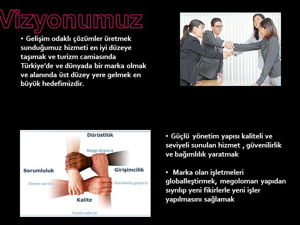 Gelişim odaklı çözümler üretmek sunduğumuz hizmeti en iyi düzeye taşımak ve turizm camiasında Türkiye'de ve dünyada bir marka olmak ve alanında üst düzey yere gelmek en büyük hedefimizdir.