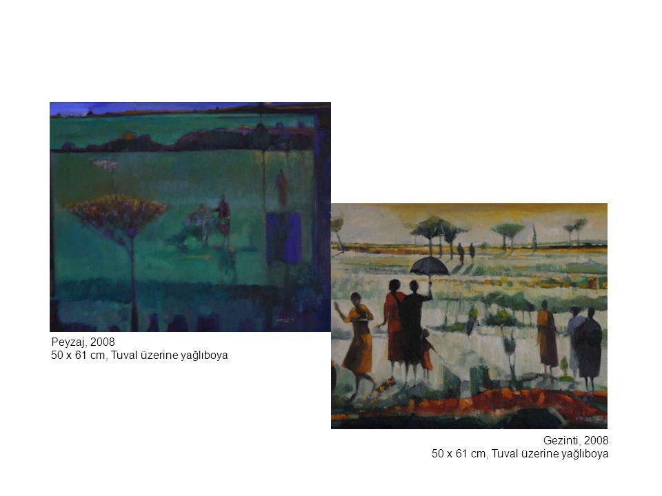 Ve Bayraklarını Bırakıp Gittiler, 2007 70 x 50 cm, Tuval üzerine yağlıboya Köpekli Kız, 2002 100 x 281 cm, Tuval üzerine yağlıboya