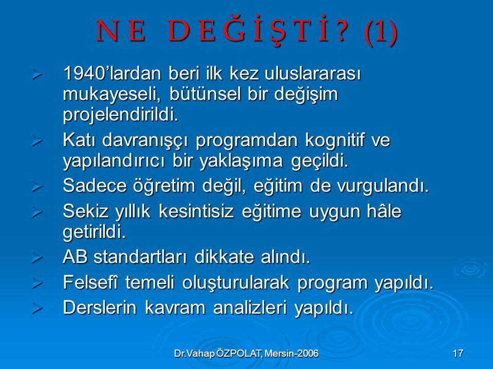 Dr.Vahap ÖZPOLAT, Mersin-200617 N E D E Ğ İ Ş T İ .