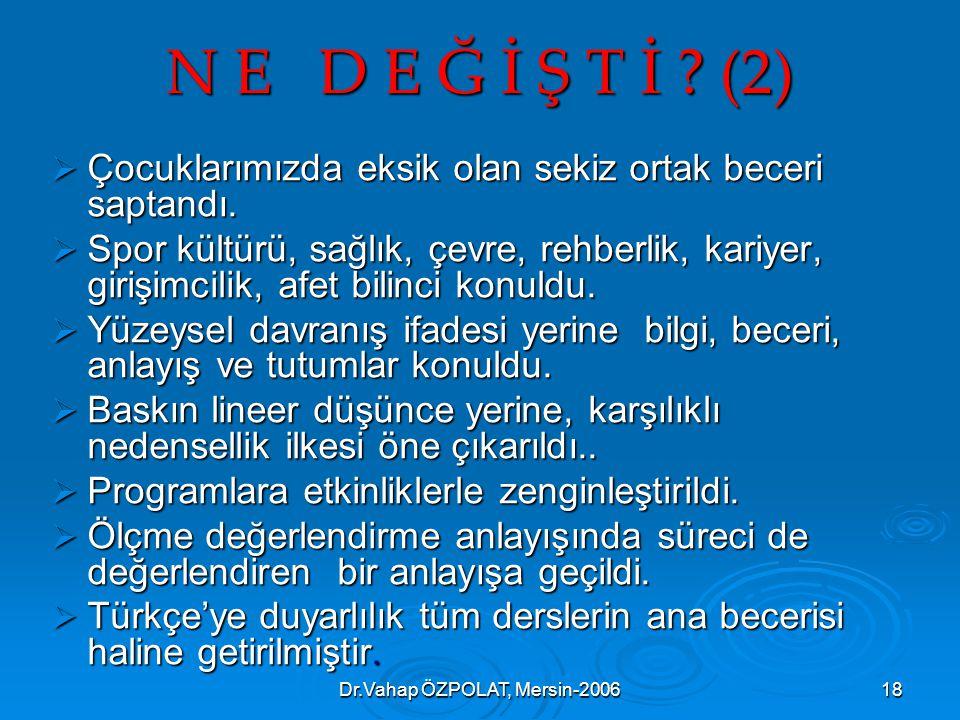 Dr.Vahap ÖZPOLAT, Mersin-200618 N E D E Ğ İ Ş T İ .