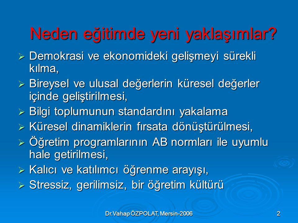 Dr.Vahap ÖZPOLAT, Mersin-20062 Neden eğitimde yeni yaklaşımlar.