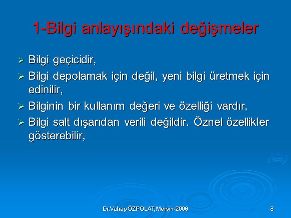 Dr.Vahap ÖZPOLAT, Mersin-20068 1-Bilgi anlayışındaki değişmeler  Bilgi geçicidir,  Bilgi depolamak için değil, yeni bilgi üretmek için edinilir,  Bilginin bir kullanım değeri ve özelliği vardır,  Bilgi salt dışarıdan verili değildir.