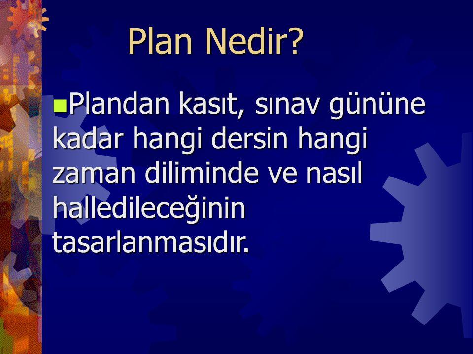 Plan Nedir? Plandan kasıt, sınav gününe kadar hangi dersin hangi zaman diliminde ve nasıl halledileceğinin tasarlanmasıdır. Plandan kasıt, sınav günün