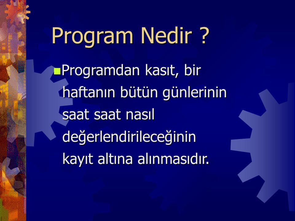Program Nedir ? Programdan kasıt, bir Programdan kasıt, bir haftanın bütün günlerinin haftanın bütün günlerinin saat saat nasıl saat saat nasıl değerl