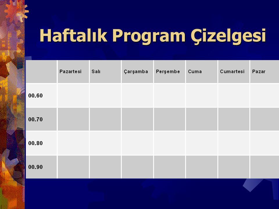 Haftalık Program Çizelgesi