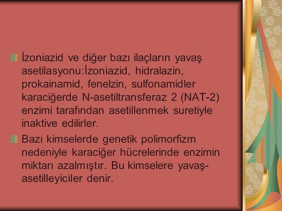 İzoniazid ve diğer bazı ilaçların yavaş asetilasyonu:İzoniazid, hidralazin, prokainamid, fenelzin, sulfonamidler karaciğerde N-asetiltransferaz 2 (NAT