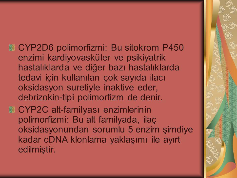 CYP2D6 polimorfizmi: Bu sitokrom P450 enzimi kardiyovasküler ve psikiyatrik hastalıklarda ve diğer bazı hastalıklarda tedavi için kullanılan çok sayıd