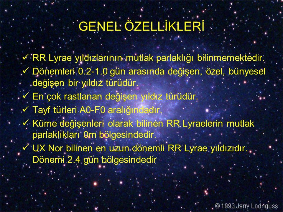 GENEL ÖZELLİKLERİ RR Lyrae yıldızlarının mutlak parlaklığı bilinmemektedir. Dönemleri 0.2-1.0 gün arasında değişen, özel, bünyesel değişen bir yıldız