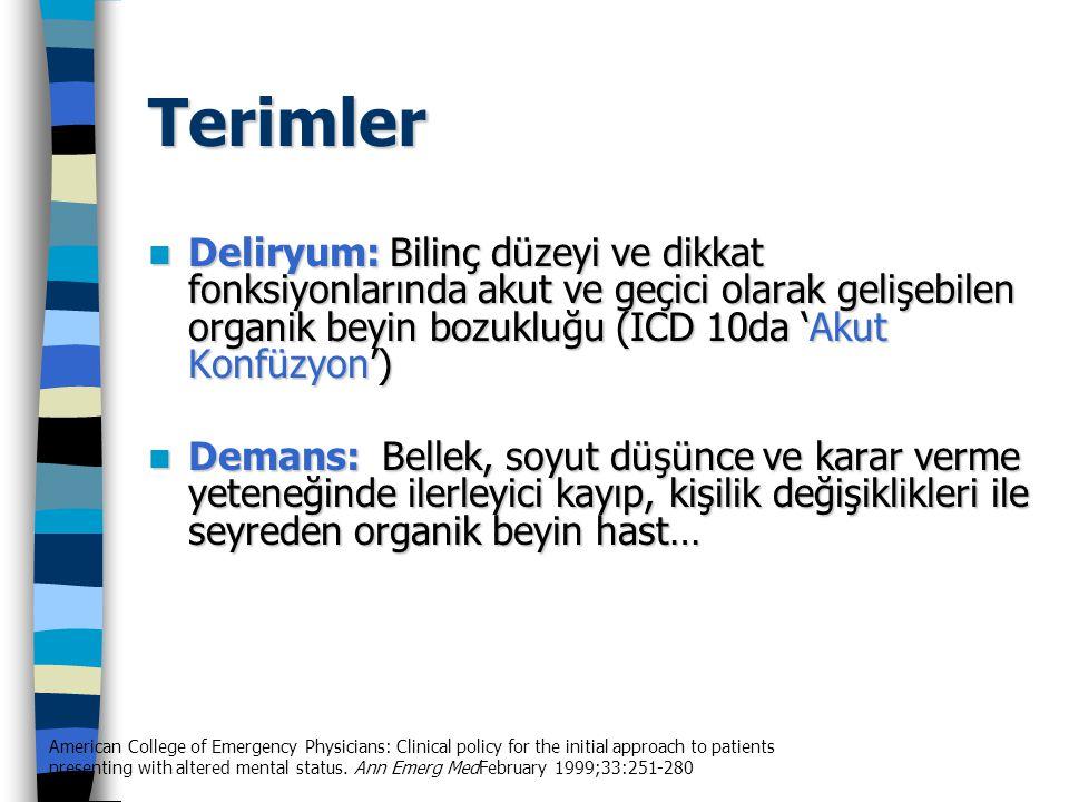 Terimler Deliryum: Bilinç düzeyi ve dikkat fonksiyonlarında akut ve geçici olarak gelişebilen organik beyin bozukluğu (ICD 10da 'Akut Konfüzyon') Deli