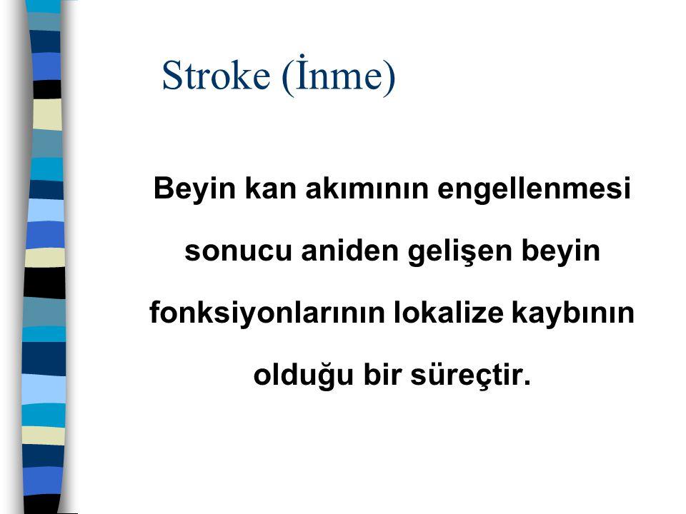 Beyin kan akımının engellenmesi sonucu aniden gelişen beyin fonksiyonlarının lokalize kaybının olduğu bir süreçtir. Stroke (İnme)