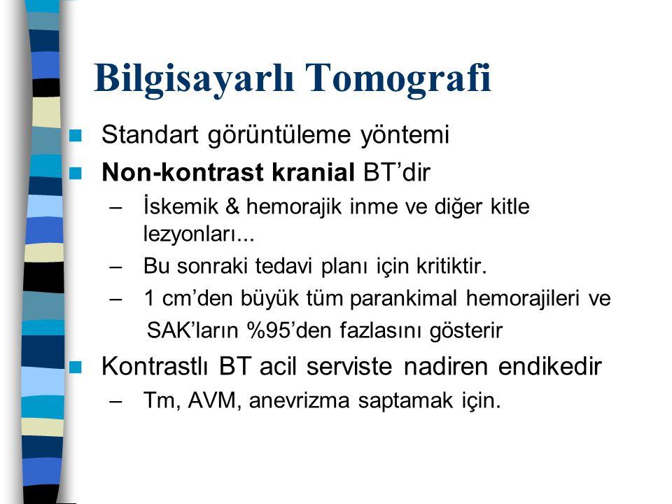 Bilgisayarlı Tomografi Standart görüntüleme yöntemi Non-kontrast kranial BT'dir –İskemik & hemorajik inme ve diğer kitle lezyonları... –Bu sonraki ted