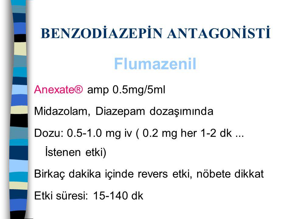 BENZODİAZEPİN ANTAGONİSTİ Flumazenil Anexate® amp 0.5mg/5ml Midazolam, Diazepam dozaşımında Dozu: 0.5-1.0 mg iv ( 0.2 mg her 1-2 dk... İstenen etki) B