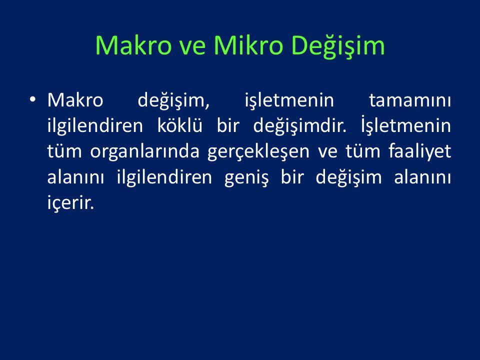 Makro ve Mikro Değişim Makro değişim, işletmenin tamamını ilgilendiren köklü bir değişimdir. İşletmenin tüm organlarında gerçekleşen ve tüm faaliyet a