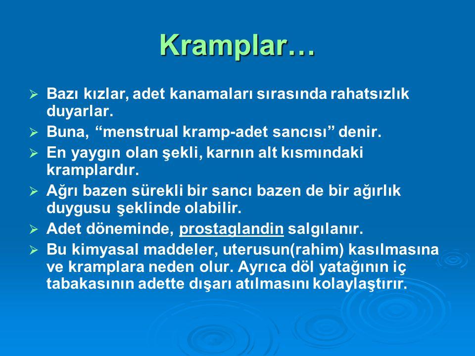 """Kramplar…   Bazı kızlar, adet kanamaları sırasında rahatsızlık duyarlar.   Buna, """"menstrual kramp-adet sancısı"""" denir.   En yaygın olan şekli, k"""