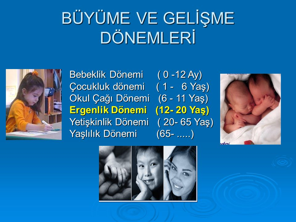 BÜYÜME VE GELİŞME DÖNEMLERİ Bebeklik Dönemi ( 0 -12 Ay) Çocukluk dönemi ( 1 - 6 Yaş) Okul Çağı Dönemi (6 - 11 Yaş) Ergenlik Dönemi (12- 20 Yaş) Yetişk