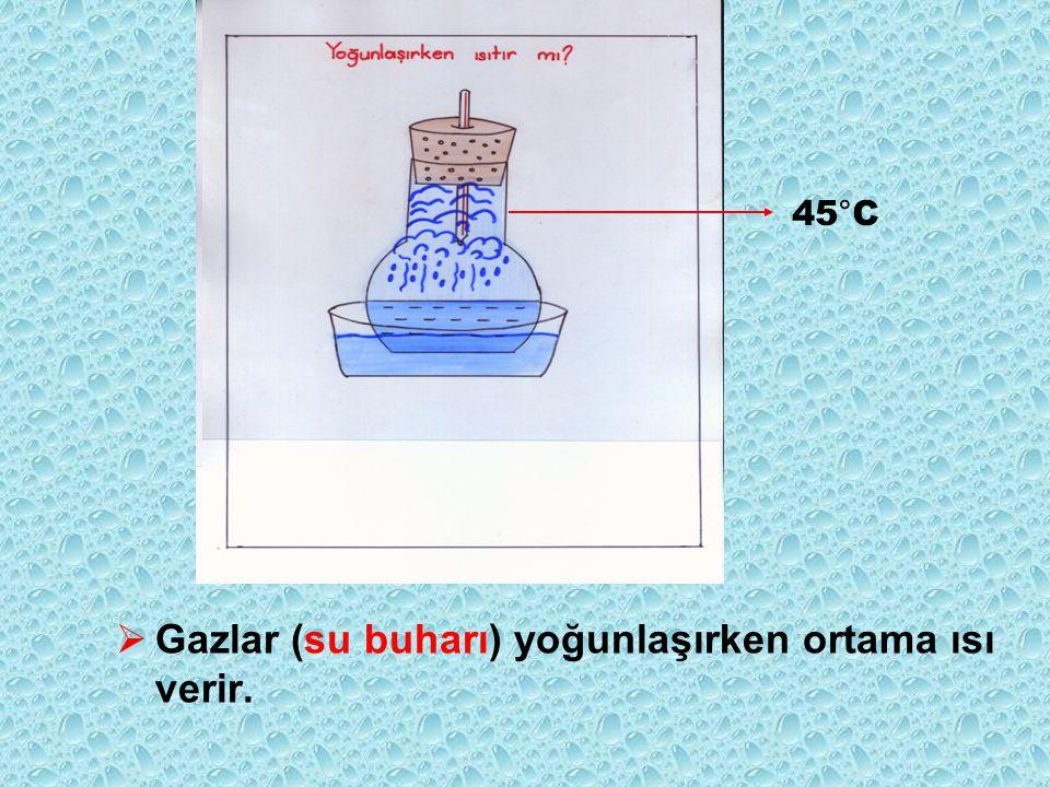  Gazlar (su buharı) yoğunlaşırken ortama ısı verir. 45°C