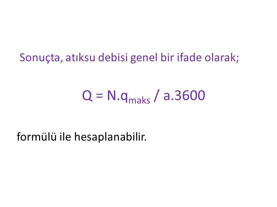Sonuçta, atıksu debisi genel bir ifade olarak; Q = N.q maks / a.3600 formülü ile hesaplanabilir.