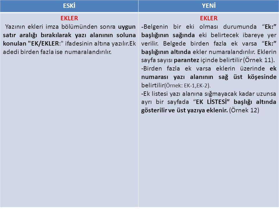 ESKİYENİ EKLER Yazının ekleri imza bölümünden sonra uygun satır aralığı bırakılarak yazı alanının soluna konulan EK/EKLER: ifadesinin altına yazılır.Ek adedi birden fazla ise numaralandırılır.