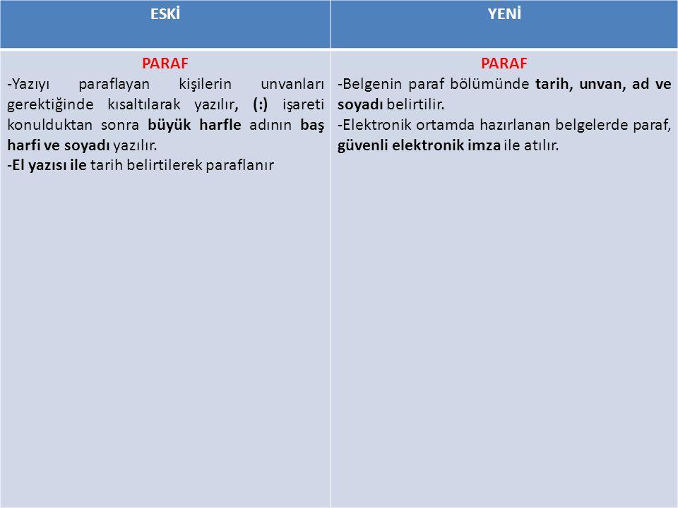 ESKİYENİ PARAF -Yazıyı paraflayan kişilerin unvanları gerektiğinde kısaltılarak yazılır, (:) işareti konulduktan sonra büyük harfle adının baş harfi ve soyadı yazılır.