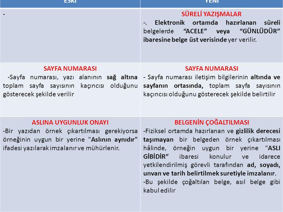 ESKİYENİ -SÜRELİ YAZIŞMALAR -.