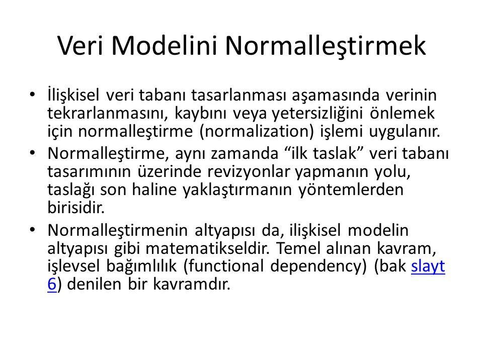 Veri Modelini Normalleştirmek İlişkisel veri tabanı tasarlanması aşamasında verinin tekrarlanmasını, kaybını veya yetersizliğini önlemek için normalle