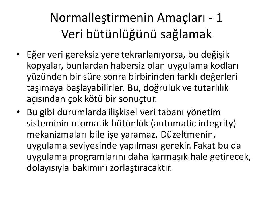 Güncelleme Sorunu 1 numaralı müşteri Ankara'ya taşınırsa, bu müşteri ile ilgili tüm satırların güncelleştirilmesi gerekecektir.