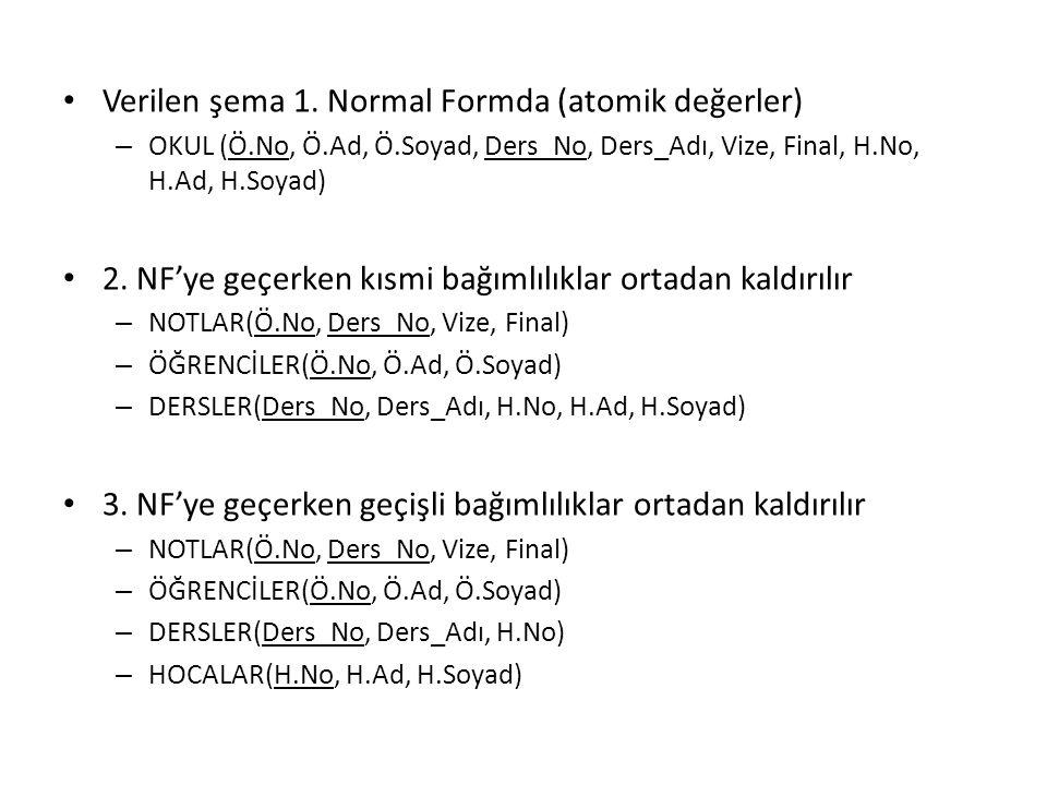 Verilen şema 1. Normal Formda (atomik değerler) – OKUL (Ö.No, Ö.Ad, Ö.Soyad, Ders_No, Ders_Adı, Vize, Final, H.No, H.Ad, H.Soyad) 2. NF'ye geçerken kı