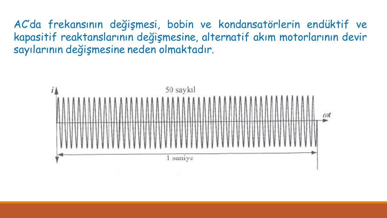 Peryodu bilinen bir alternatif akımın frekansı, T = 1/f formülü ile hesaplanabildiği gibi frekansmetre ile direkt olarak da ölçülebilir.