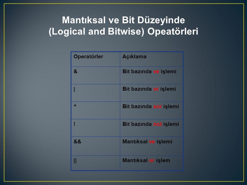 OperatörlerAçıklama &Bit bazında ve işlemi |Bit bazında or işlemi ^Bit bazında xor işlemi !Bit bazında not işlemi &&Mantıksal ve işlemi ||Mantıksal or işlem